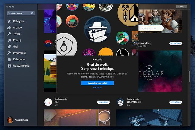 App Store z grami oznaczonymi jako część Apple Arcade
