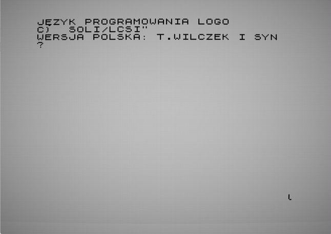Polska sesja LOGO jeszcze przed unifikacją. Niektóre komendy są inne, niż w późniejszych wersjach.
