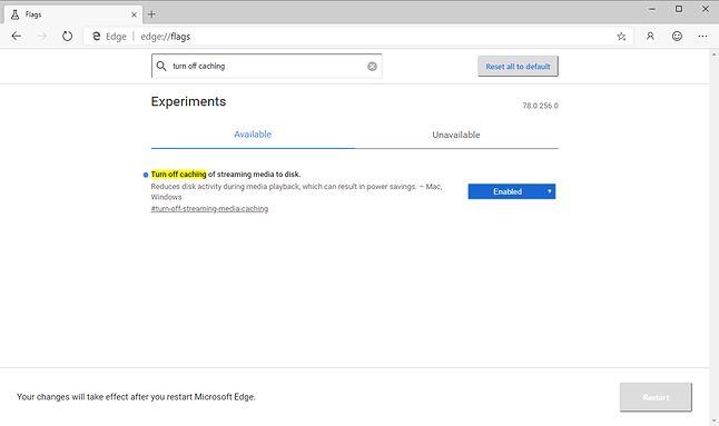 Ustawienia eksperymentalne w Edge'u z Chromium.