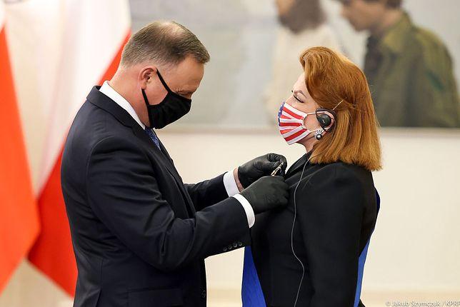 Andrzej Duda odznaczył Georgette Mosbacher Krzyżem Wielkim Orderu Zasługi RP (Kancelaria Prezydenta, Jakub Szymczuk)