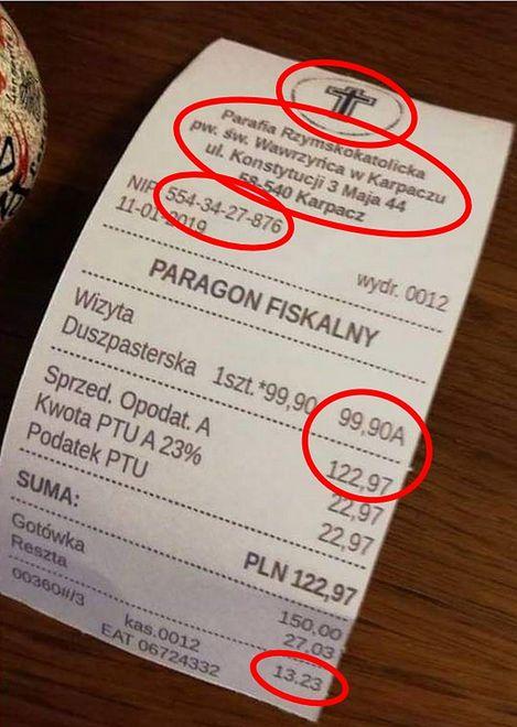 Takie zdjęcie fałszywego paragonu od księdza krąży po internecie