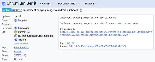 Commit w Chromium Gerrit sugeruje trwające prace nad kopiowaniem zdjęć prosto do schowka, źródło: Chrome Gerrit.