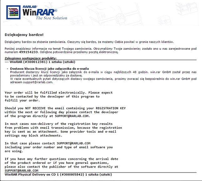 Rzadki obrazek. Tak wygląda email który się otrzymuje po rejestracji WinRARa.