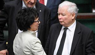 Elżbieta Witek w towarzystwie Jarosława Kaczyńskiego  w Sejmie
