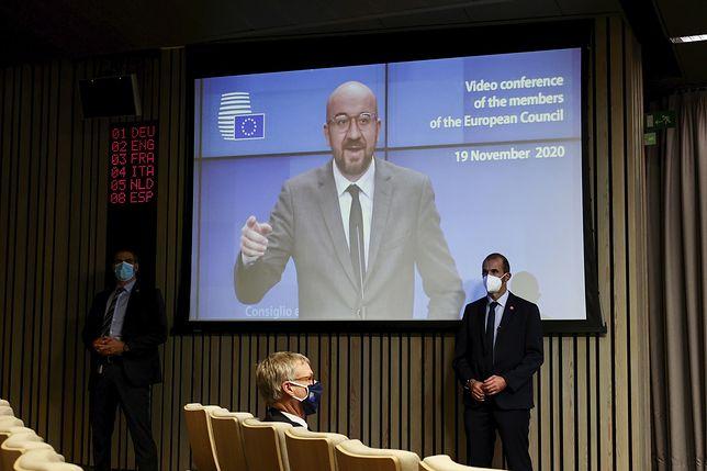 Charles Michel, przewodniczący Rady Europejskiej, podczas wideokonferencji przywódców europejskich poświęconej m.in. kwestii budżetu UE i powiązaniu go z mechanizmem praworządności