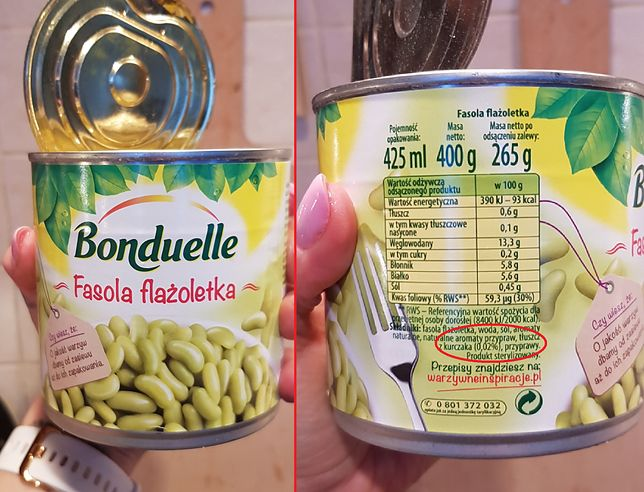 W puszce z fasolką Bonduelle znajduje się tłuszcz zwierzęcy