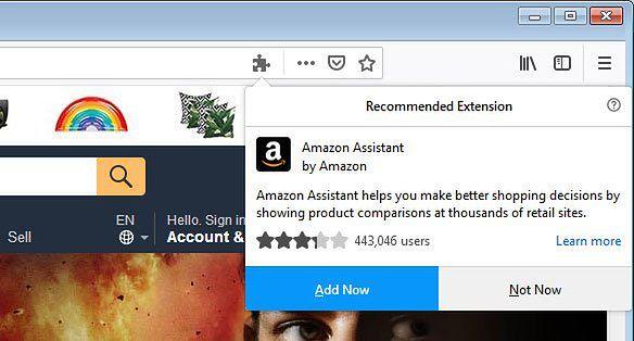 Przykład rekomendacji rozszerzenia, źródło: Bleeping Computer.