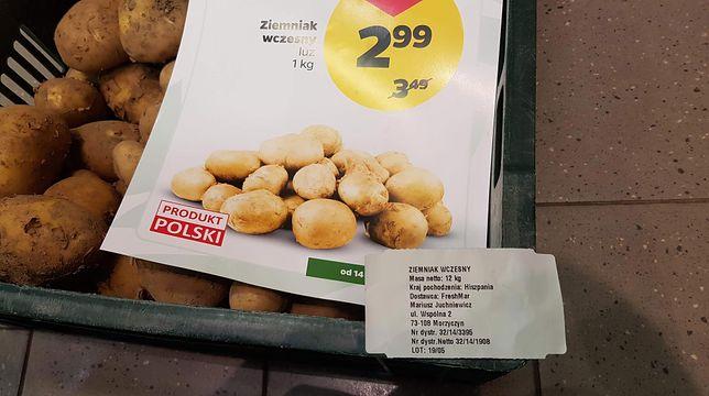 Ziemniaki są sprzedawane jako polskie, choć etykieta na skrzynce wskazuje na inny kraj pochodzenia