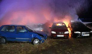 Najpierw zapalił się mercedes, od niego zapaliły się kolejne auta