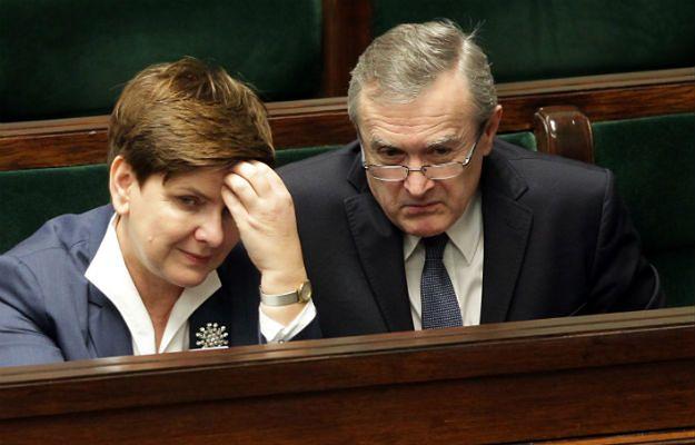 Minister Piotr Gliński i premier Beata Szydło podczas posiedzenia Sejmu