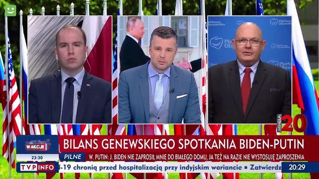 """Poseł Gramatyka (po prawej) wykorzystał zaproszenie do TVP Info, żeby wbić szpilę """"pewnym mediom"""""""