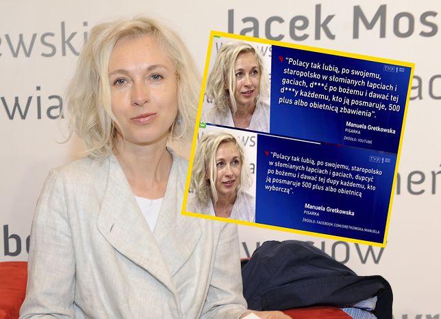 """""""Wiadomości"""" zmieniły słowa Manueli Gretkowskiej. Cytat pasuje teraz do wyborów"""