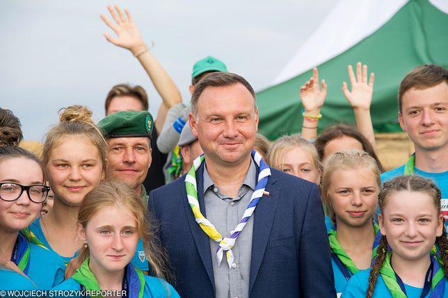 Andrzej Duda na zlocie Związku Harcerstwa Polskiego w Gdańsku
