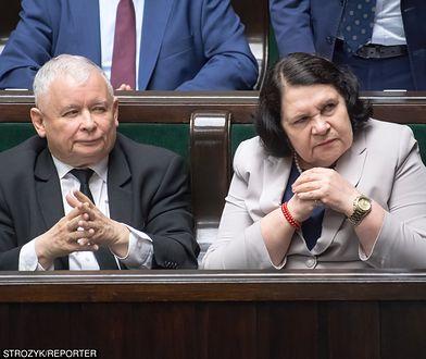 Prezes PiS Jarosław Kaczyński i posłanka jego partii Anna Sobecka