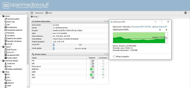 Download - Spore wahania i średni wynik około 70MB/s