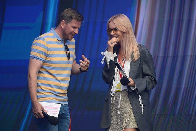 Filip Chajzer i Agnieszka Woźniak-Starak na próbach festiwalu w Sopocie.