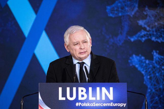 Lublin. Jarosław Kaczyński podczas wiecu wyborczego