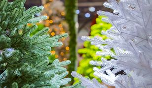 Na białej choince łatwiej wyeksponować świąteczne ozdoby.