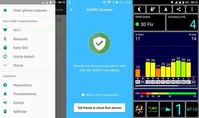 Podręczne menu / ADUPS / GPS