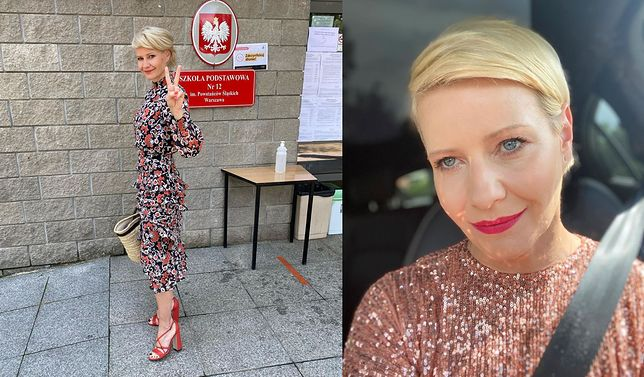 Z lewej: Małgorzata Kożuchowska pod komisją wyborczą w Warszawie