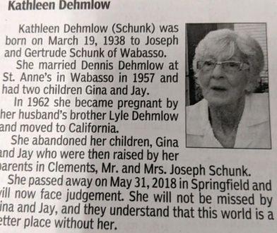 Ten nekrolog jest zaskakujący