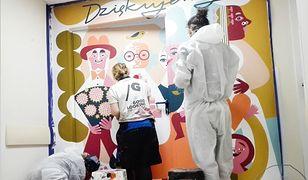 Koronawirus. Warszawa. W szpitalu MSWiA powstały pokrzepiające murale