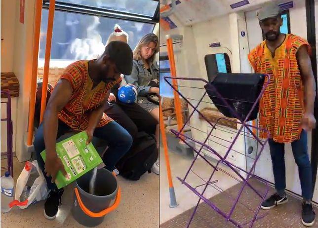 Pranie w londyńskim metrze. Kolejny dowcip Elvina Mensaha