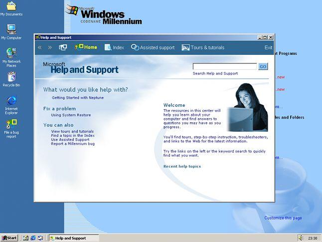 Pomoc i Obsługa techniczna była kopią tej, z Windows ME