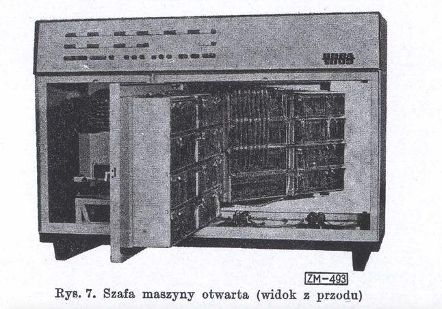 Szafa maszyny Odra 1003. Po lewej pamięć bębnowa (przysłonięta częściowo drzwiami), po prawej płytki modułów jednostki obliczeniowej.