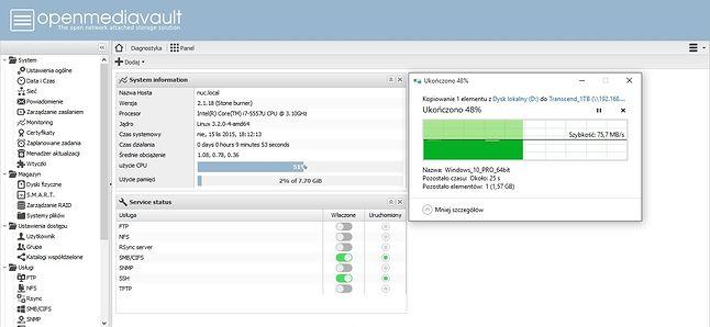 Upload - Stabilne 75MB/s jednak zużycie procesora było najwyższe ze wszystkich przeprowadzonych testów