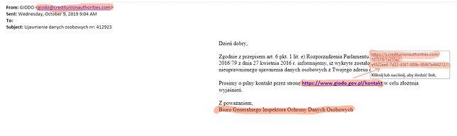 Przykładowy e-mail od cyberprzestępców podszywających się pod GIODO.