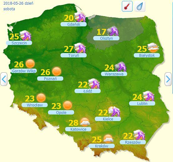 Prognoza pogody na dziś - 26 maja. Burzowo i parno