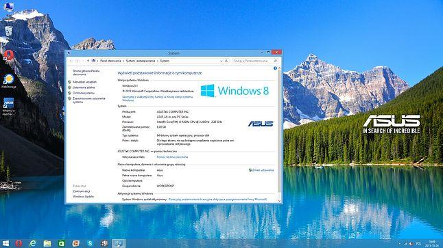Windows 8.1 z którym sprzęt został dostarczony :)