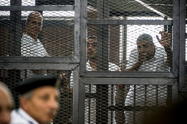 Od lewej: Peter Greste, Mohamed Fadel Fahmy i Baher Mohamed