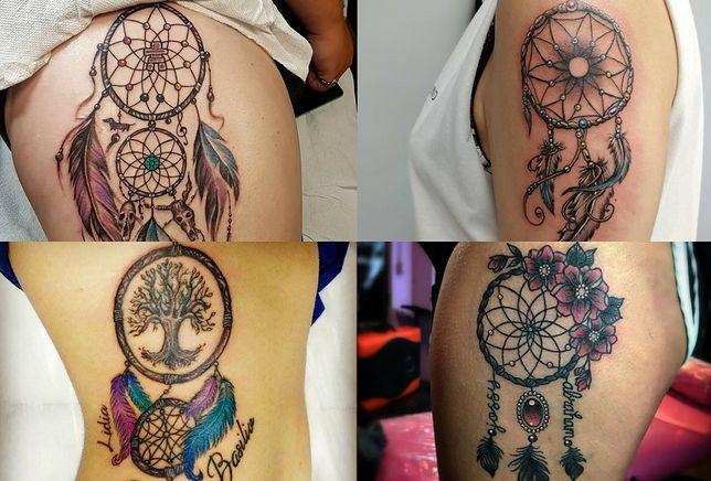 Łapacze snów idealnie wykorzystują motyw pióra w tatuażu