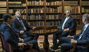 Premier RP Mateusz Morawiecki, premier Słowacji Peter Pellegrini, premier Węgier Viktor Orban i premier Czech Andrej Babis