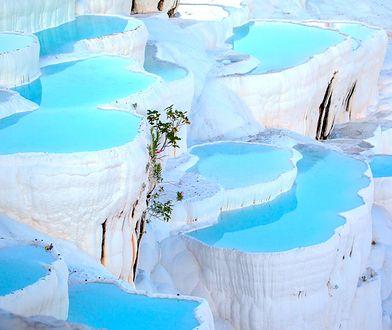 Naturalne baseny trawertynowe i tarasy w Pamukkale