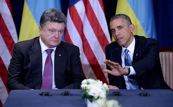 Rosyjski dziennik o spotkaniu Baracka Obamy z Petrem Poroszenką