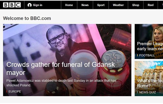 Informacje o pogrzebie Pawła Adamowicza na stronie głównej serwisu BBC