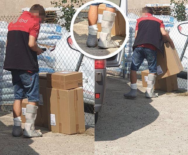 Zdjęcia kuriera ze złamanymi nogami szybko obiegły polski internet