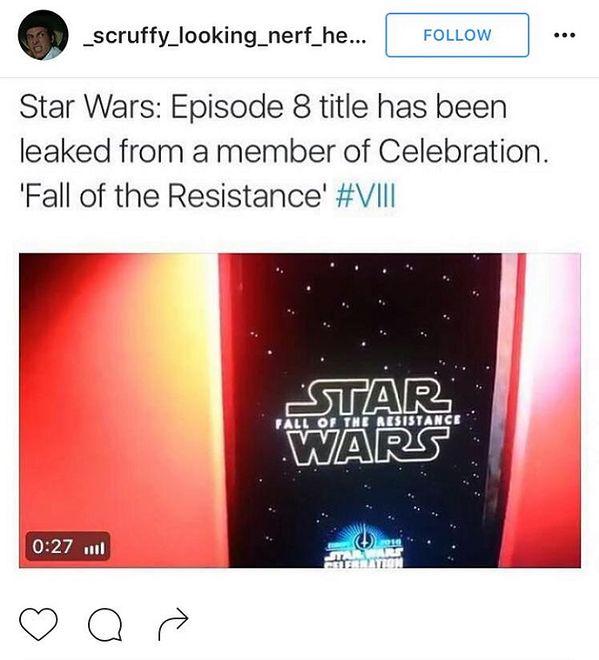 """Do sieci wyciekł tytuł VIII części """"Gwiezdnych Wojen""""!"""