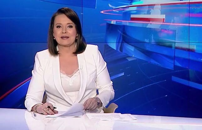 """Danuta Holecka prowadząca główne wydanie """"Wiadomości"""" TVP"""