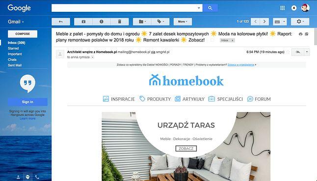 Obecny wygląd Gmaila w przeglądarce