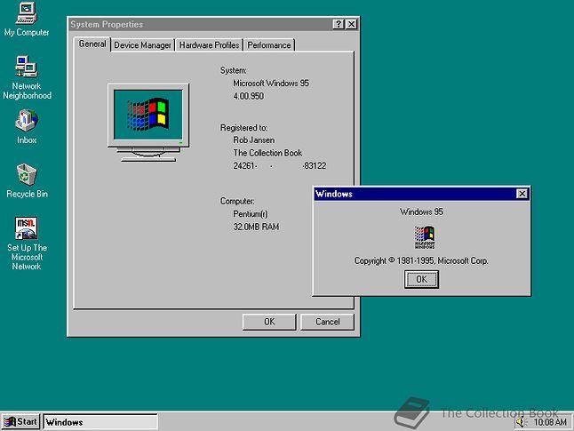 Tak wyglądała pierwsza wersja Windows 95... (fot. Rob Jansen, The Collection Book)