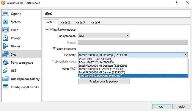 Ustawienia maszyny wirtualnej w programie VirtualBox.