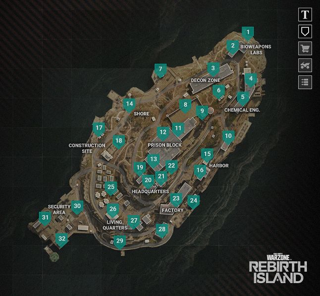 Lokalizacje na Rebirth Island