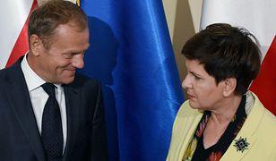 Premier Beata Szydło i przewodniczący Rady Europejskiej Donald Tusk