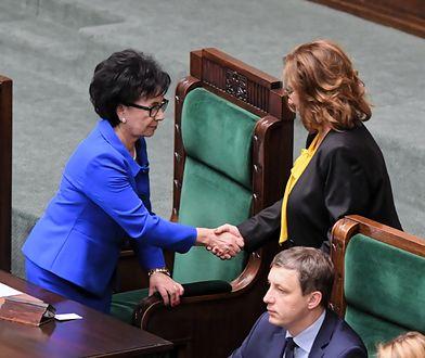 Elżbieta Witek z PiS i Małgorzata Kidawa-Błońska w Sejmie.