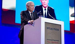 Prezes PiS Jarosław Kaczyński podczas konwencji programowej PiS i Zjednoczonej Prawicy w Katowicach.